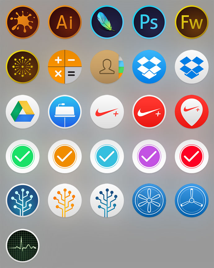 iOS 8 inspired icons for OS X Yosemite.