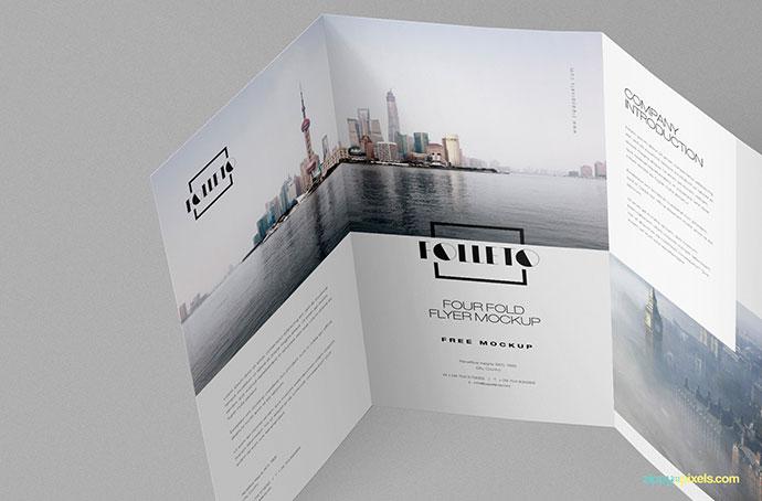 Free Photo-realistic Folded Brochure Mockup