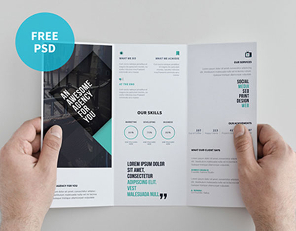 22 free psd brochure mockup templates web graphic for Tri fold brochure psd template