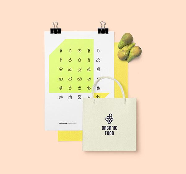 Freebie: Organic Food Icon Set (AI, EPS, SVG, PNG)