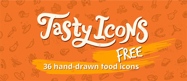 36 hand-drawn food icon