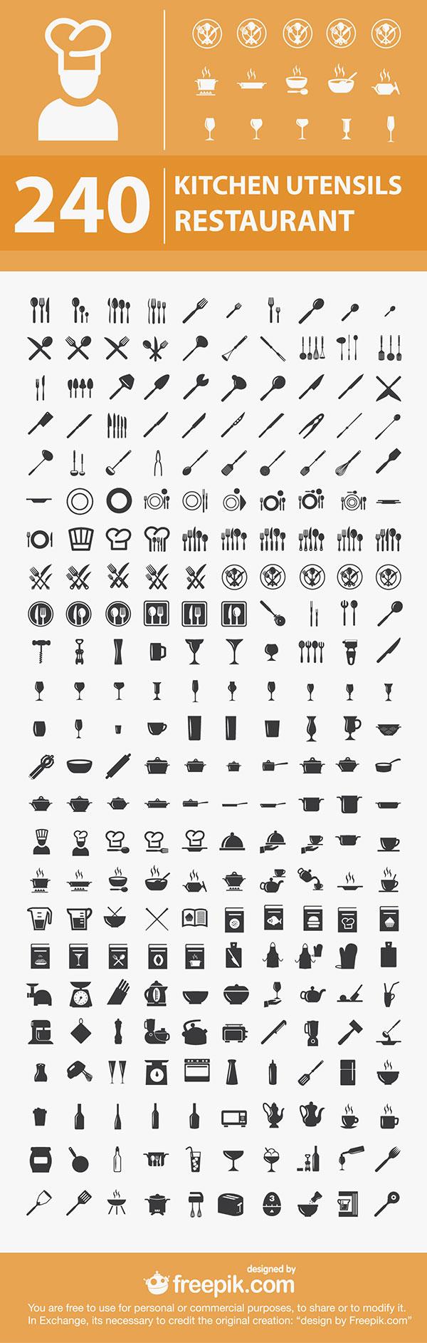 240 Free Kitchen / Restaurant Icons