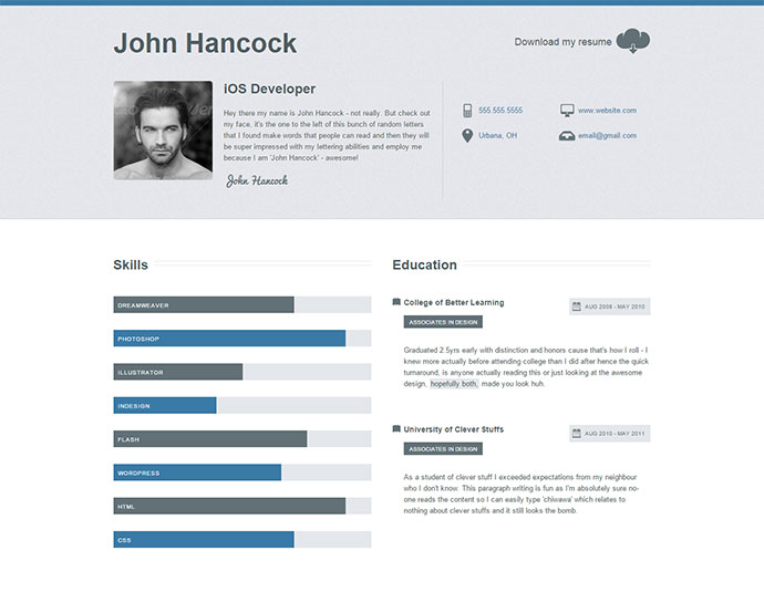 Website Resumes | 20 Intriguing Online Resume Templates Web Graphic Design Bashooka