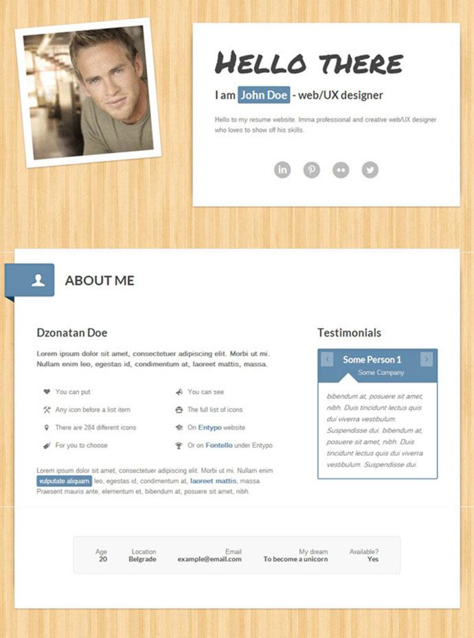 myResume Responsive One-Page Retina-Ready Resume
