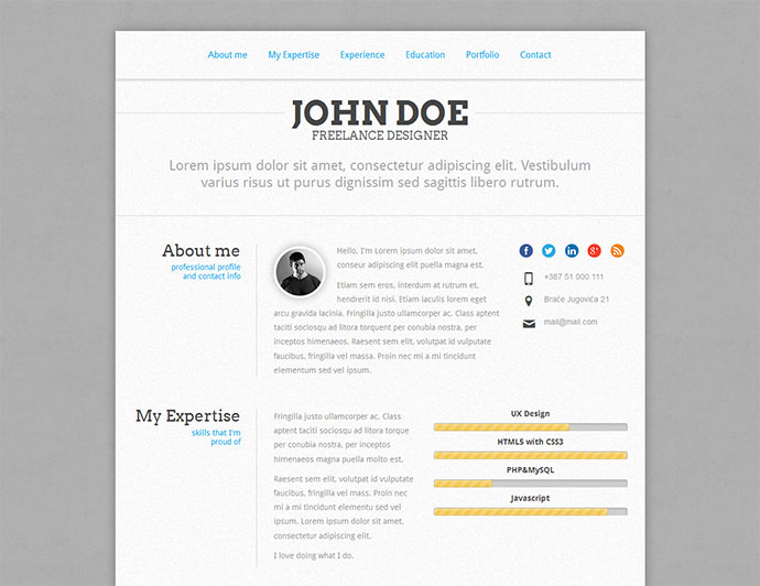 PerfectCV - Responsive, Bootstrap CV / Resume