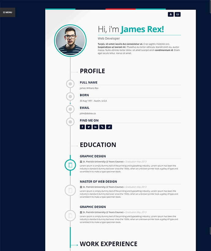 20 Intriguing Online Resume Templates  Web   Graphic Design