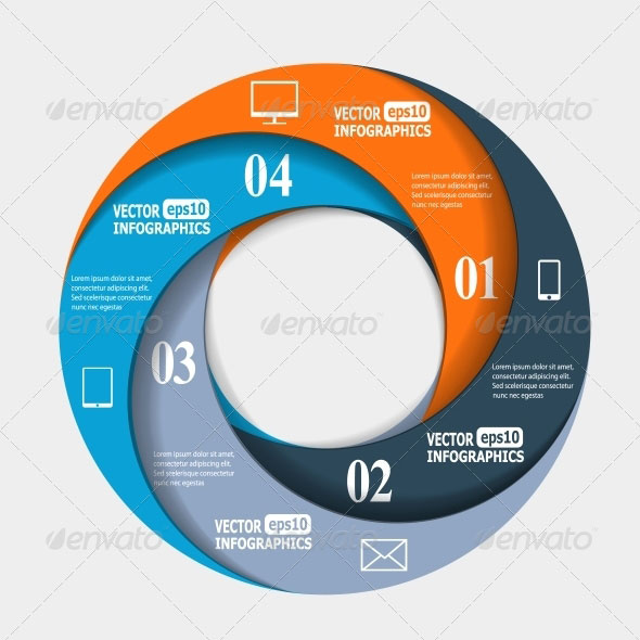 Abstract Paper Infografics in a Circle Shape