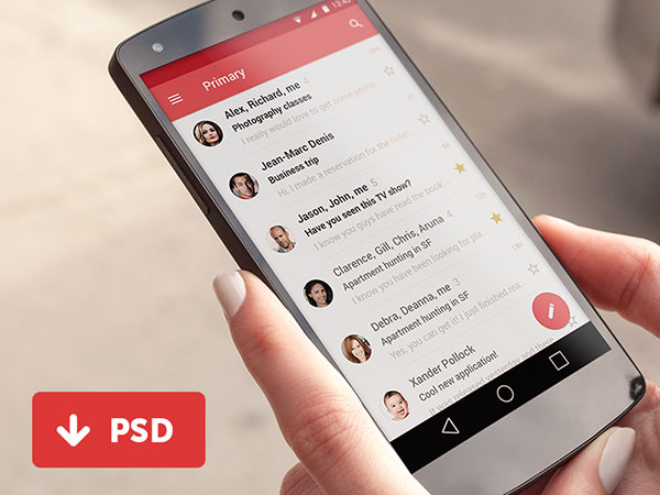 Material Gmail User Interface / FREE PSD