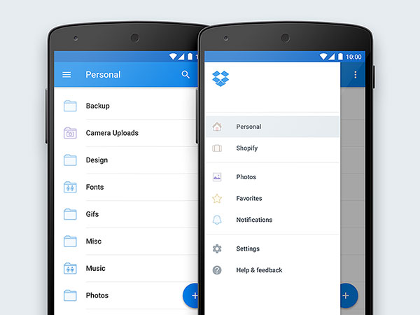 Dropbox for Android Material Redesign