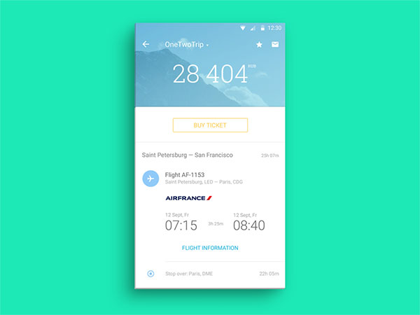 Material Design Ticket Screen