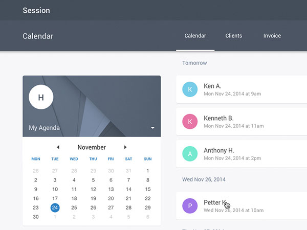 Session App - Agenda with Material Design