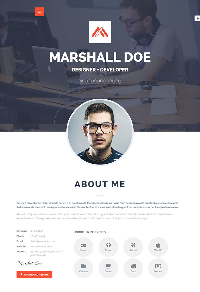 20 Intriguing Online Resume Templates | Web & Graphic Design | Bashooka