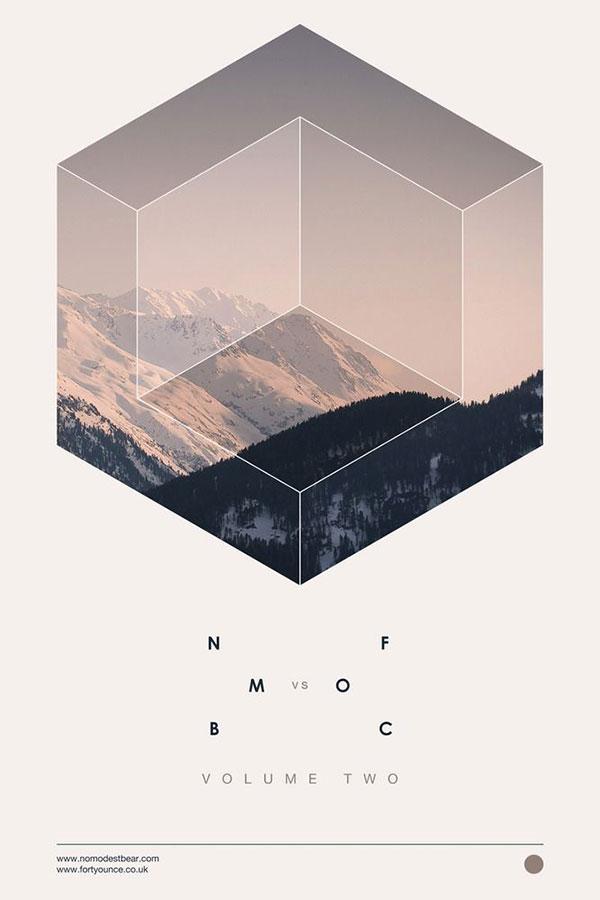 geometric shapes photos layout design minimalist poster design Samuel Johnson