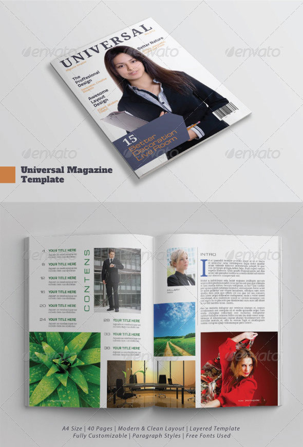 A4/Letter Universal Magazine Template