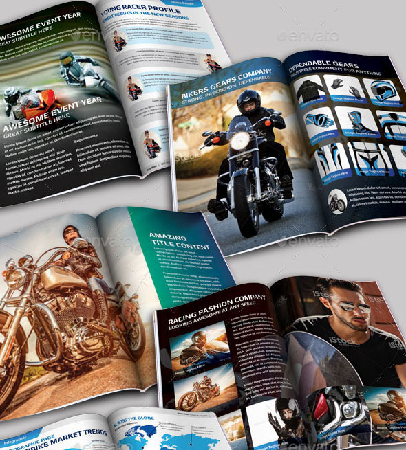 40 Pages A4 MotoRider Racing Magazine Template
