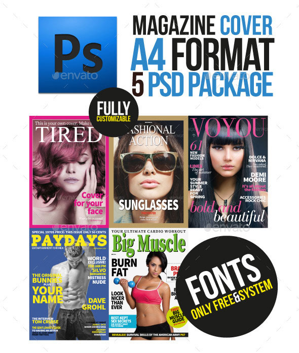 5 Magazine Cover Template A4 Format