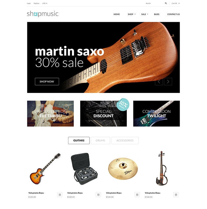 Responsive Shopify Theme - ShopMusic