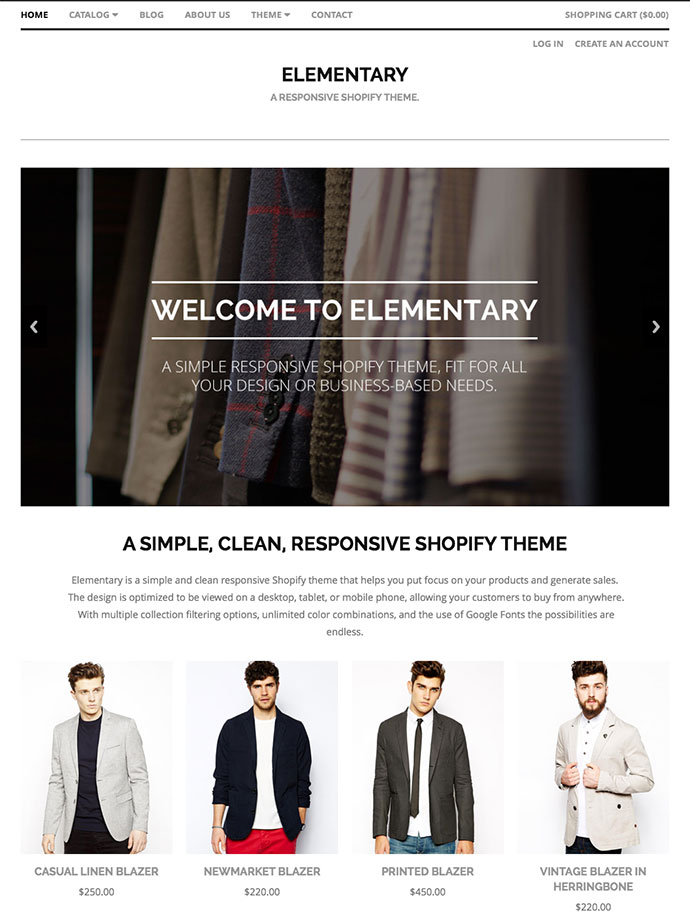 Elementary - A Responsive Shopify Theme
