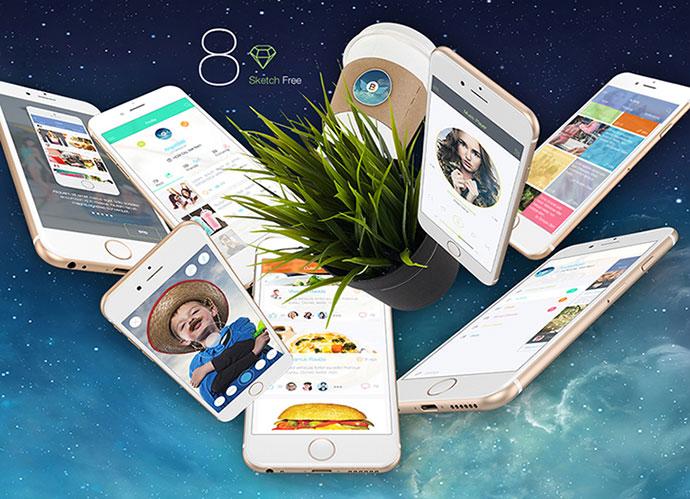 8 FREE for Sketch 3 - Mobile UI Kit