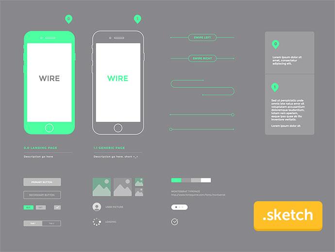 Wireframe kit freebies .sketch - iPhone 6