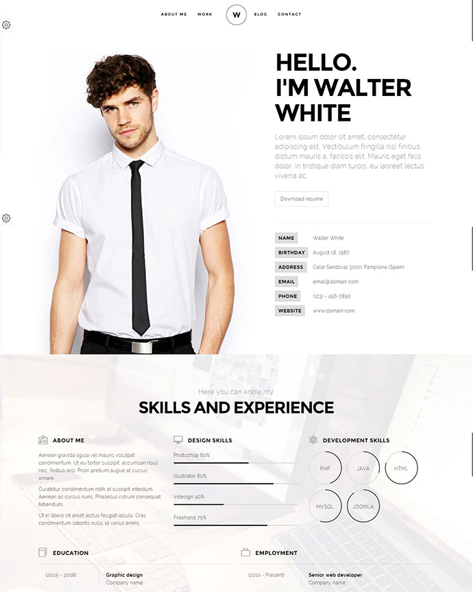 this theme is a creative resume portfolio template it is based on twitter bootstrap and made to show your resume portfolio and blog in a wonderful way