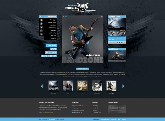 Bandzone: WordPress Theme made by Musicians