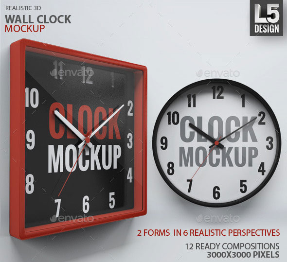Wall Clock Design Template : Best psd mock up templates web graphic design