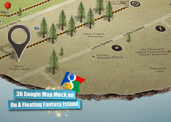 3D Google Map Mock up