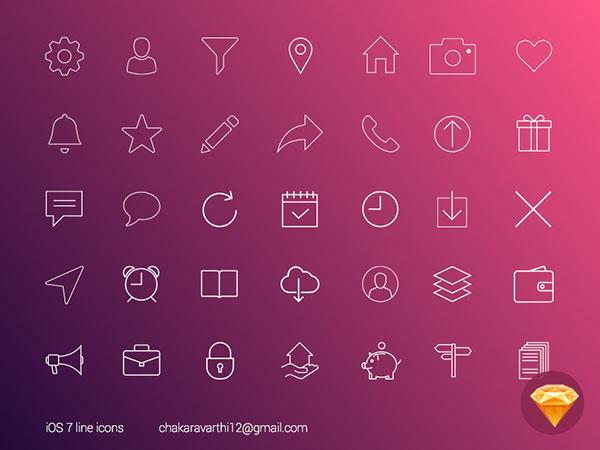 Sketch iOS7 line icons