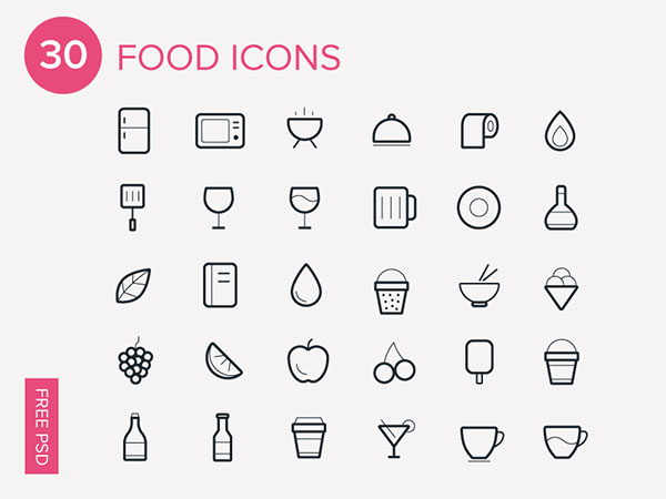 30 Foods Icons-Free Icon Set