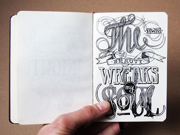 hand-lettering in/on my sketchbooks