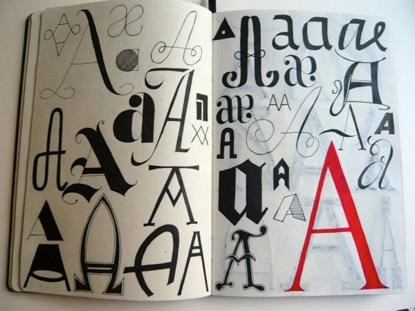 Hand-Lettered Alphabet In Different Styles