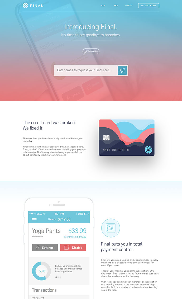 Final Card Landing Page