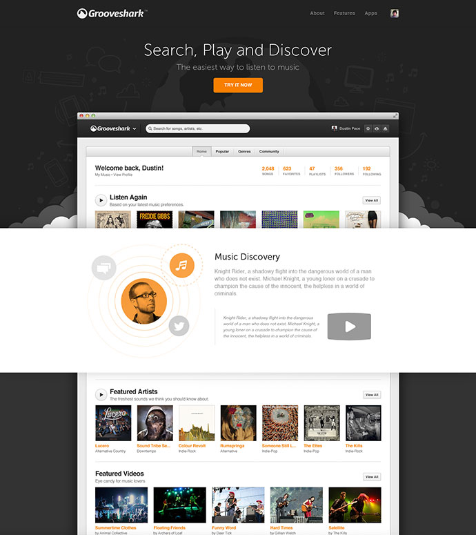Grooveshark / New Landing Page