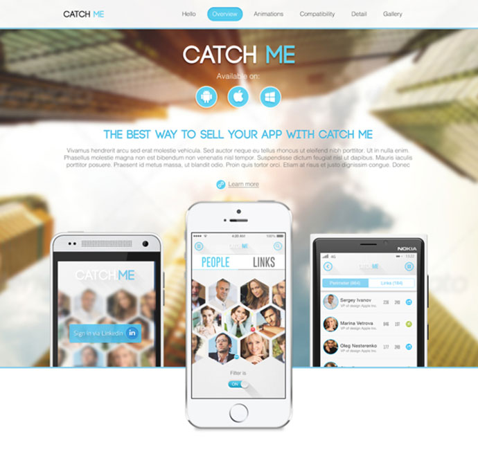 Landing page - Catch Me