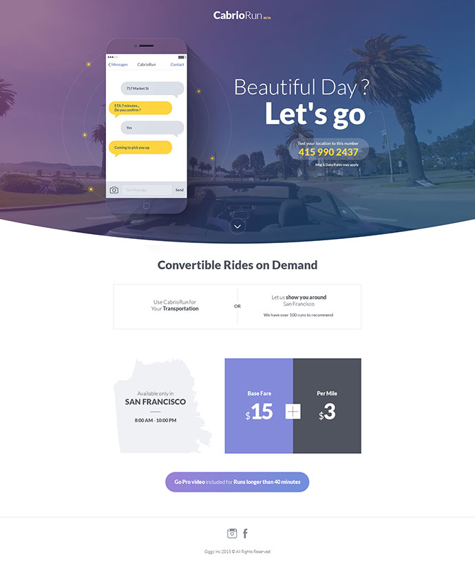 CabrioRun Landing Page