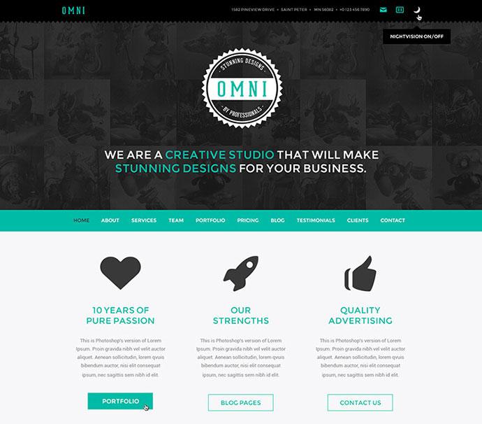 Omni - Onepage / Multipage WordPress Parallax Flat