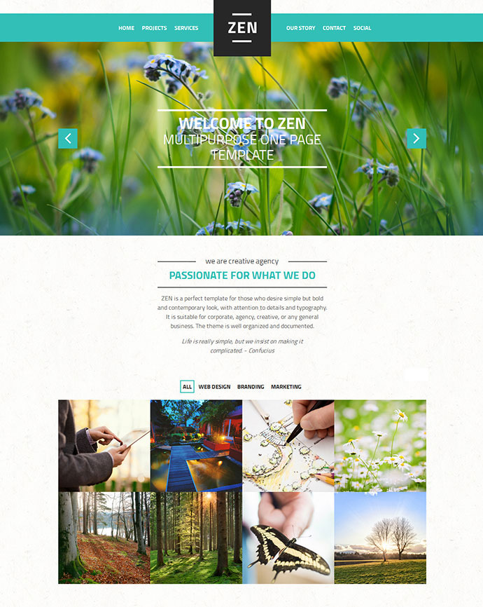 Zen Responsive Multi-Purpose OnePage WordPress Theme