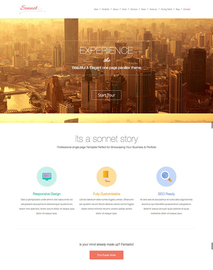 Sonnet One Page WordPress Multipurpose Portfolio