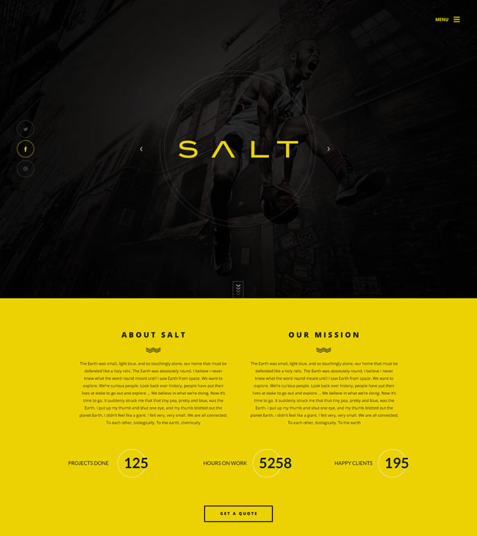 Salt - Parallax OnePage WooCommerce WordPress Shop