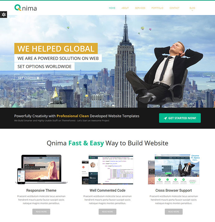 Qnima - One Page Multipurpose WordPress theme