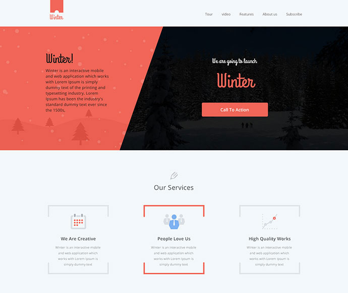 Winter || colorful responsive one page WP Theme