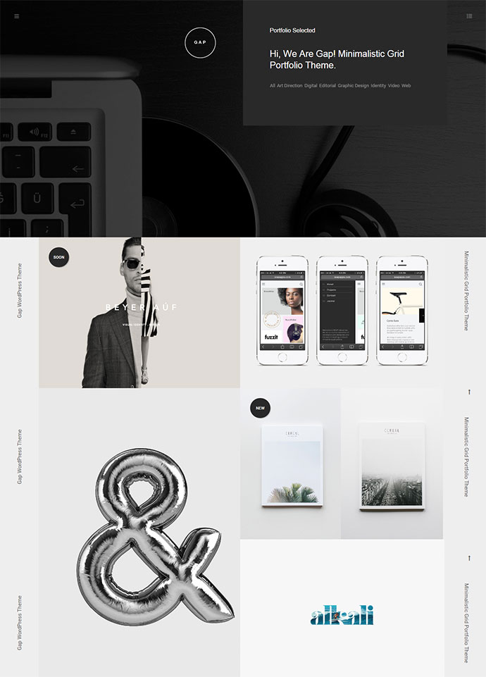 Gap most awesome black and white WordPress theme