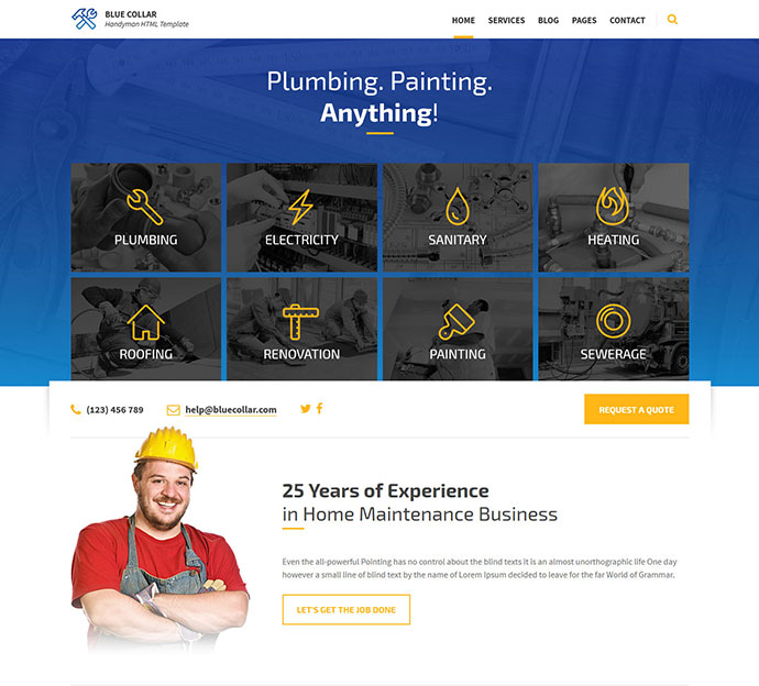Blue Collar - Handyman HTML Template