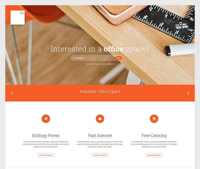 Office-Box Onepage HTML/CSS3/LESS template