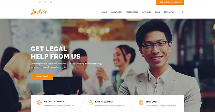 JUSTICE - Law & Business HTML Template
