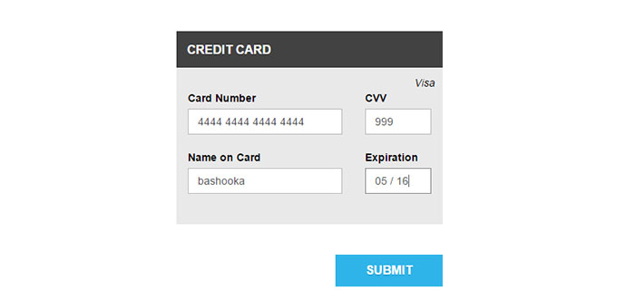 8 Jquery Credit Card Form Plugins | Web & Graphic Design | Bashooka