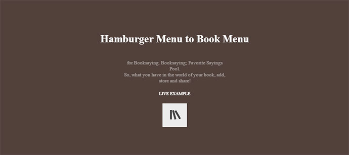Hamburger Menu to Book Menu