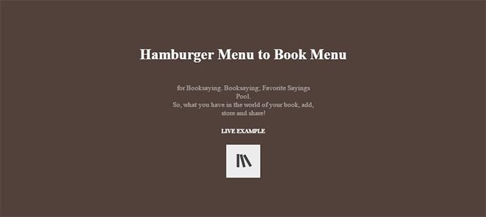 Hamburger Menu to Book Menu