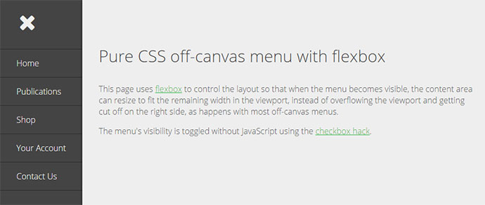 Pure CSS off-canvas menu with flexbox